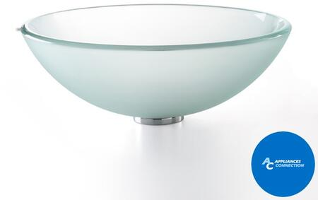 "Kraus CGV101FR1412MM1007 Singletone Series 14"" Round Vessel Sink with 12-mm Tempered Glass Construction, Easy-to-Clean Polished Surface, and Included Ramus Faucet, Frosted Glass"
