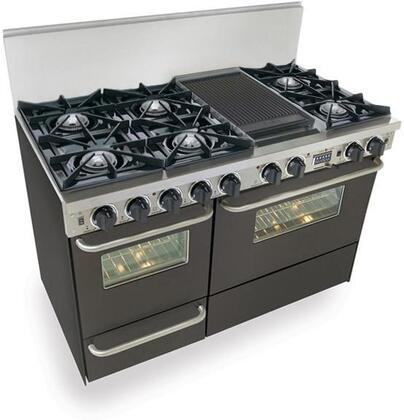 """FiveStar TPN5377SW 48"""" Dual Fuel Freestanding Range with Sealed Burner Cooktop, 3.69 cu. ft. Primary Oven Capacity, Broiler in Black with Brass"""