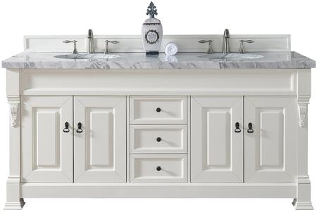 "James Martin Brookfield Collection 147-114-5741- 72"" Cottage White Double Vanity with Four Soft Closing Doors, Three Soft Closing Drawers, Backsplash, Hand Carved Filigrees and"