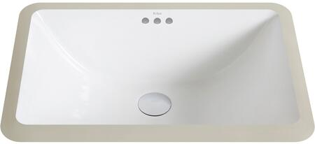 Kraus KCU21 Elavo Series Undermount Bathroom Sink with Vitreous China Construction, Overflow, and Easy-to-Clean Polished Surface