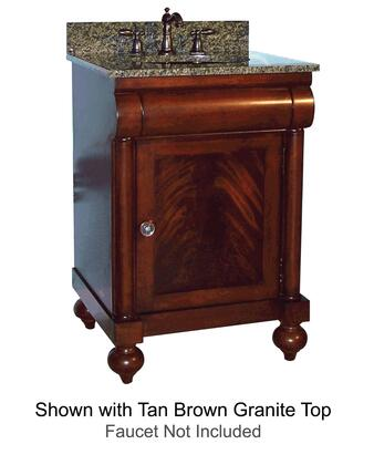 "Kaco John Adams Collection 348-2400 24"" Vanity with 1 Door, Turned Bun Feet and Water Resistant Brown Cherry Finish with X Granite Top"