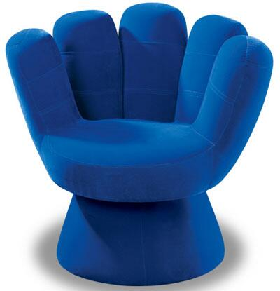 """LumiSource Mitt Collection CHR-MITT3529 32"""" Chair with Hand Design, Sturdy Wood Construction and Fabric Upholstery in"""