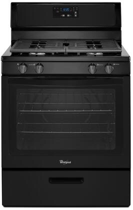 "Whirlpool WFG320M0B 30"" Freestanding Gas Range with 4 Sealed Burners, 5.1 cu. ft. Oven, Continuous Grates, Electronic Controls, Custom Broil and Two 15,000 BTU Power Burners in"