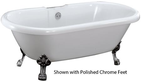 """Barclay ADR7H59LPWH Belvidere Acrylic Double Roll Bath Tub with 7"""" Centers, 46 Gallon Capacity, and Lion Feet Finished in:"""