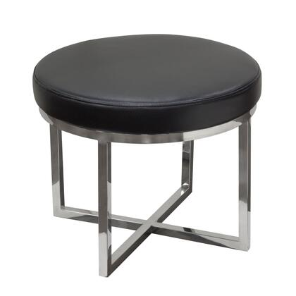 "Diamond Sofa Ritz RITZST 20"" Round Accent Stool with Stainless Steel Base and Bonded Leather Cushion in"