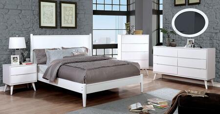 Furniture of America CM7386WHEKBEDSET Lennart II King Bedroo