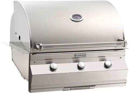 """FireMagic A660I5LAX Aurora Series 30"""" Built-In Grill with E-Burnerrs, One Infrared Burner, 16 Gauge Stainless Steel Construction, Analog Thermometer, 75000 Primary BTUs, 660 Sq. In. Cooking Surface, and Comfort Touch Control, in Stainless Steel"""