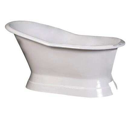 "Barclay CTSN61B 61"" Leonardo Cast Iron Slipper Freestanding Tub on Base with Overflow and No Holes in"