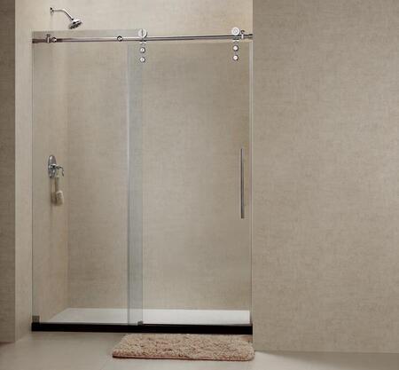 DreamLine DL-662 Enigma-Z Fully Frameless Sliding Shower Door and SlimLine Single Threshold Shower Base with Center Drain in
