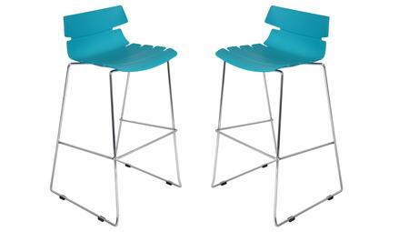 """LumiSource Bonefish BS-ZS-BFISH-XB2 Set of (2) 39"""" Stackable Barstool with Resin Molded Seat, Chrome Base and Footrest in"""