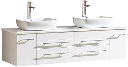 Fresca FCB6119XXCWHV Bellezza Modern Double Sink Vanity with Top and Vessel Sink in
