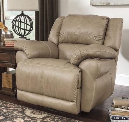 Signature Design by Ashley Lenoris U9890X32 Swivel Power Rocker Recliner with Thick Pillow Top Arms, Bustle Back with Headrest and Jumbo Stitching Details in