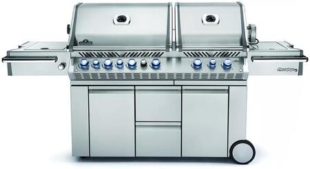 """Napoleon PRO825RSBIxSS-2 95"""" Prestige PRO 825 Series Freestanding Grill with 4 Stainless Steel Bottom Burners, 2 Infrared Burners, Smoker Burner, Warming Burner, Smoker Tray, 1245 sq. in. Cooking Area, and Infrared Rear Burner, in Stainless Steel"""