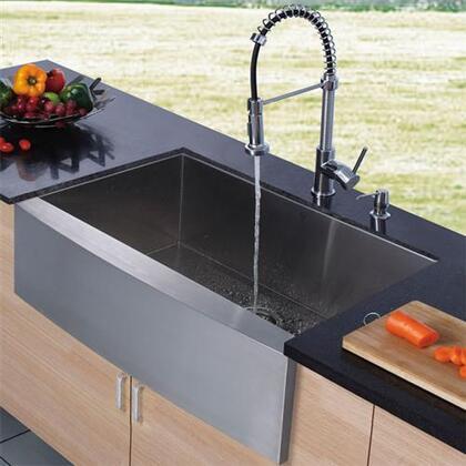 Vigo VG02001K1 Single Handle Pullout Spray Kitchen Faucet with Deck Plate: