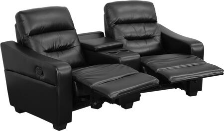 Flash Furniture BT703802GG Futura Series 2-Seat Reclining Leather Theater Seating Unit with Cup Holders