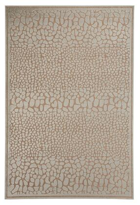 Milo Italia Ruby RG450529TM X Size Rug with Machine Made Snake Skin Design, Viscose and Chenille Blend and Backed with Latex and Jute in Ivory Color
