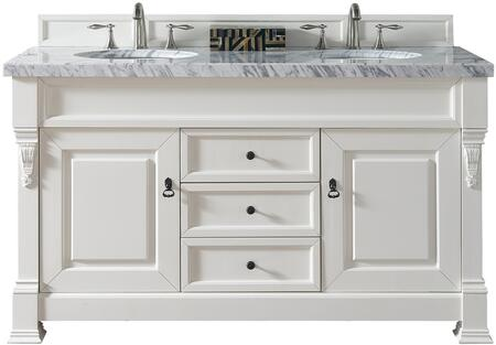 "James Martin Brookfield Collection 147-114-5641- 60"" Cottage White Double Vanity with Two Soft Closing Doors, Three Soft Closing Drawers, Backsplash, Hand Carved Filigrees and"