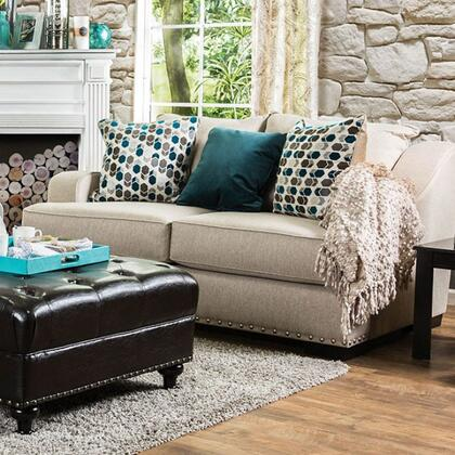 "Furniture of America Arklow Collection SM124X-LV 71"" Love Seat with Nailhead Trim, Fabric Upholstery and Sloped Arms in"