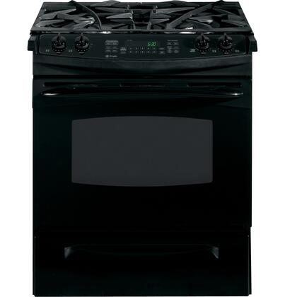 GE PGS908DEPBB Profile Series Slide-in Gas Range with Sealed Burner Cooktop, 4.1 cu. ft. Primary Oven Capacity, Storage in Black