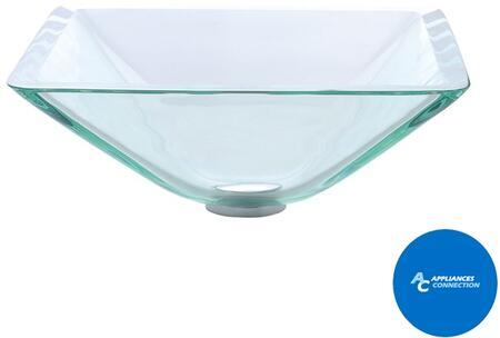 """Kraus GVS90119MMX Square Clear Series 17"""" Square Vessel Sink with 19-mm Tempered Clear Glass Vessel Sink, Easy-to-Clean Polished Surface, and Included Pop-Up Drain with Mounting Ring"""