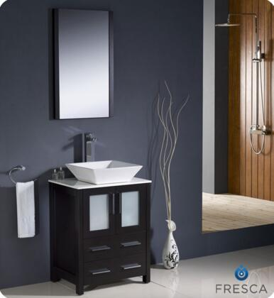 """Fresca Torino Collection FVN6224XX-VSL 24"""" Modern Bathroom Vanity with Vessel Sink, Mirror and 2 Soft Closing Drawers in"""