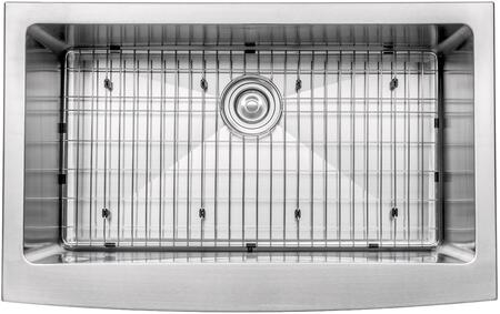 """Kraus KHF20033163042 Precision Series 33"""" Apron Front Single-Bowl Kitchen Sink with Stainless Steel Construction, NoiseDefend, and Included Pull-Down Faucet and Soap Dispenser"""