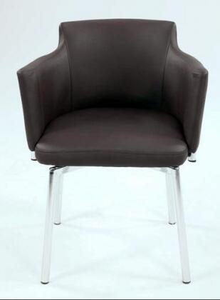 Chintaly DUSTYACBRWKD Modern Leather Metal Frame Dining Room Chair