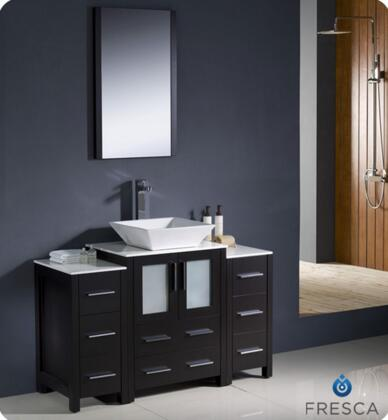 """Fresca Torino Collection FVN62-122412XX-VSL 48"""" Modern Bathroom Vanity with 2 Side Cabinets, 2 Frosted Glass Panel Soft Closing Doors and Vessel Sink in"""