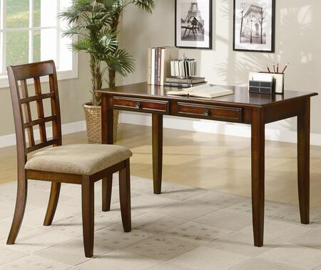 """Coaster 48"""" 2 PC Desk Set with 2 Drawers, Side Chair, Tapered Legs, Plush Cushion Seat, Slat Back Chair and Wood Construction in Color"""