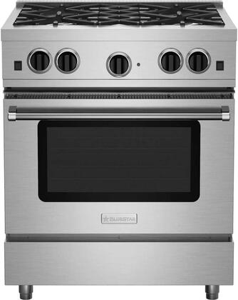 "BlueStar RCS30SBV 30"" Freestanding Range with 4 Sealed Burners, Extra-Large Convection Oven, Infrared Broiler, Black Enameled Top, and Automatic Electronic Ignition System: Stainless Steel"