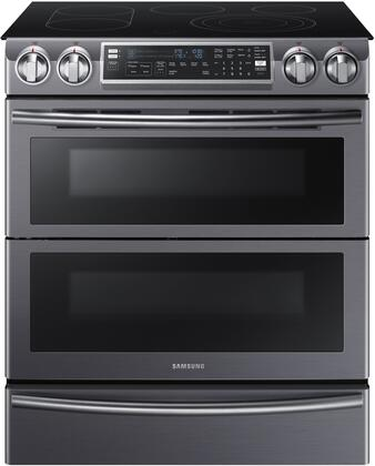 """Samsung NE58K9850W 30"""" Slide-In SmoothTop Electric Range with 5.8 cu. ft. Oven Capacity, Flex Duo convection fans, Dual oven door, Steam quick self-cleaning, Child lock and Warming drawer in"""