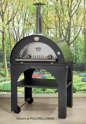 """Clementi PULCINELLAXX60 45"""" Pulcinella Series Direct Wood Burning Oven with X Pizzas Capacity, 2 Minute Quick Cooking Time, Stainless Steel Construction, Ceramic Fiber and Wool-Rock Insulation, and 2 Wheels: Slate"""
