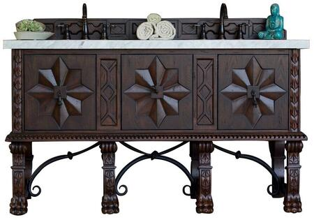 "James Martin Balmoral Collection 150-V60D-ANW- 60"" Antique Walnut Double Vanity with Hand Carved Details, Iron Scrollwork, Three Soft Closing Doors and"