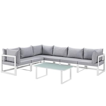Modway Fortuna Collection EEI-1737- 7-Piece Outdoor Patio Sectional Sofa Set with Coffee Table, 3 Center Sections and 3 Corner Sections in