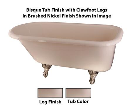 Bisque Tub Finish with Clawfoot Legs in Brushed Nickel Finish