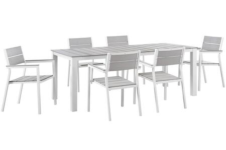Modway Maine Collection 7 PC Outdoor Patio Dining Set with Solid Grey Slats, Wooden Plank Boards, Powder Coated Aluminum Frame and Plastic Base Glides in