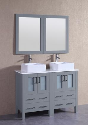 """Bosconi AGR224CBEPSX XX"""" Double Vanity with Phoenix Stone Top, Square White Ceramic Vessel Sink, F-S02 Faucet, Mirror, 4 Doors and X Drawers in Grey"""