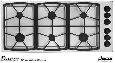 Dacor SGM466S  Natural Gas Sealed Burner Style Cooktop
