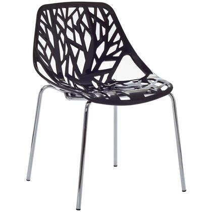 "Modway EEI-651 Stencil 16.5"" Stackable Dining Chair with Organic Leafy Forest Motif, Indoor and Outdoor, Polished Chrome Steel Base, and Molded Plastic Seat"