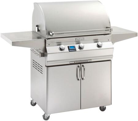 """FireMagic A660S5E1X61 Aurora 63"""" Cart with 30"""" Grill, E-Burners, Side Shelves, Digital Thermometer, and Up to 75000 BTUs Heat Output, in Stainless Steel"""