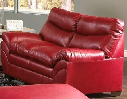 Simmons Upholstery Soho 951502SOHO Loveseat with Split Back Cushion, Bonded Leather, Stitched Detailing and Block Feet