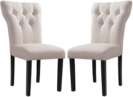 "Acme Furniture Effie Collection Set of 2 20"" Side Chair with Button Tufted Back, Wooden Tapered Legs, Wood Construction and Linen Fabric Upholstery"