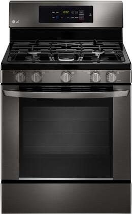 "LG LRG3061 30"" Gas Single Oven Range with 5.4 cu. ft. Capacity, 5 Burners, EasyClean, Delay Bake, and Griddle:"