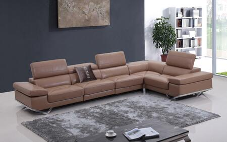 VIG Furniture VGKNK8489CML Divani Casa Series Stationary Leather Sofa