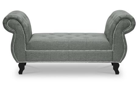 Wholesale Interiors Baxton Studio BBT5156 Baxton Studio Norwich Bench with Polyurethane Foam Padding, Silver Nail Head Trim, Black Wood Legs, Ruberwood Frame and Fabric Upholstery in