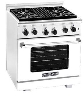 American Range ARR304W Heritage Classic Series Natural Gas Freestanding Range with Sealed Burner Cooktop, 4.8 cu. ft. Primary Oven Capacity, in White