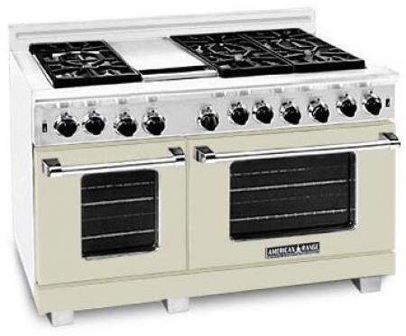 American Range ARR4842GDLBG Heritage Classic Series Liquid Propane Freestanding Range with Sealed Burner Cooktop, 4.8 cu. ft. Primary Oven Capacity, in Beige