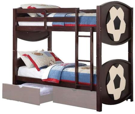 Acme Furniture 1195X All Star Twin Bunk Bed with Built-In Ladders, Hardwood Solids and Veneers in Espresso Finish