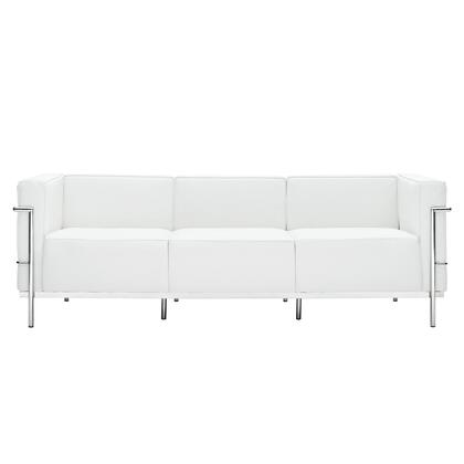 Modway EEI567WHI Le Corbusier LC3 Series Stationary Leather Sofa