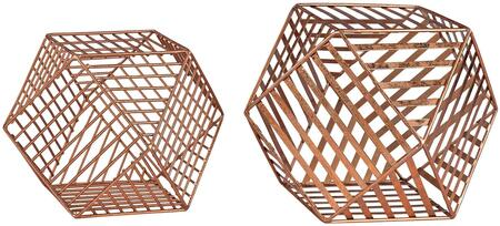 """Sterling Geometry Collection 10"""" Set of 2 Wire Dodecahedron with Metal Material and Metallic Finish in Leaf"""